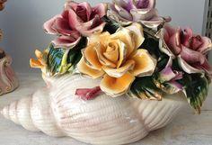 Capodimonte Style Sea Shell Flower Basket
