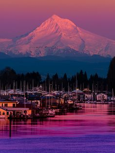 Mount Hood at Sunset over the Columbia River, Oregon, United States