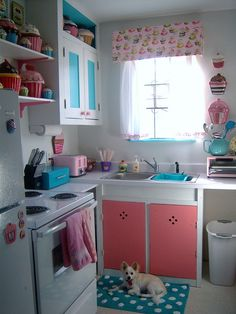This should be my kitchen-Blue and pink cupcake kitchen.