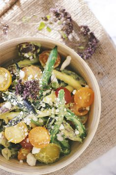 Fresh green bean and tomato salad with creamy avocado herb dressing