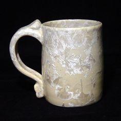 ART POTTERY CRYSTALLINE GLAZE COFFEE  MUG CUP 1986 SIGNED