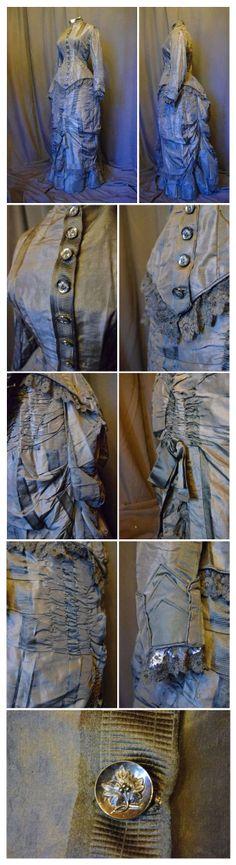 Toilette de jour en foulard de soie vers 1880. Ebay: autempsjadis2012