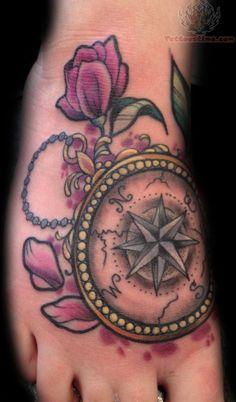 tattoo idea, feet tattoos, compass tattoo foot, compass foot tattoo, awesom tattoo, feminine compass tattoo, feminine foot tattoos, tattoo ink, colorful foot tattoo