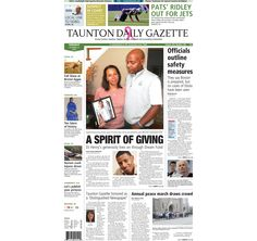 The front page of the Taunton Daily Gazette for Tuesday, Oct. 14, 2014.