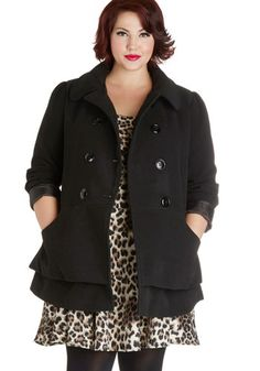 Pep Rally Perfection Coat in Plus Size by Steve Madden - 3, Black, Solid, Buttons, Pockets, Tiered, Double Breasted, Long Sleeve, Fall, Wint...