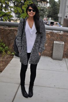 Oversized cardigan. Basic tee. Black Jeans. Combat boots