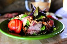 Pioneer Woman: Chipotle Steak Salad. Think strips of marinated, grilled flank steak draped over a mountain of greens and drizzled in chipotle mayo. I love life.