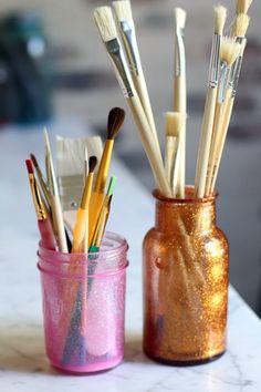 DIY Glitter Mason Jars.  #lilyshop