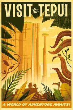 """""""Visita los tepuis"""" Poster promocional realizado por Eric Tan para la película de Disney/Pixar's """"UP"""". Edición limitada, impreso en giclee, lo vende Disney Studio Art Collection en US$ 145. Estas mesetas elevadas y abruptas de paredes verticales son un verdadero espectáculo natural que han inspirado obras como """"El mundo perdido"""" de los dinosaurios de sir Arthur Conan Doyle o la aventura de """"Up"""" de la factoría Pixar. Un extraño lugar más digno del cine que de la vida real."""