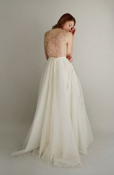 Danielle lace and silk chiffon gown by Leanimal on Etsy