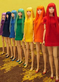 rainbow dolls in a row