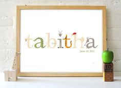 we bought an animal name print for the nursery from this Etsy seller and I loooove it!