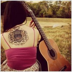 24 Great Guitar Tattoo Designs: Acoustic Guitar Tattoo Ideas For Girl On Back ~ Tattoo Design Inspiration