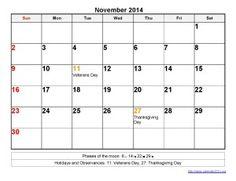 Printable Calendar 2014 November Templates