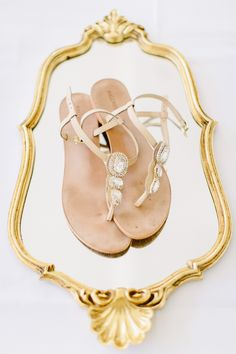 jeweled bridal sandals, photo by Carmen & Ingo http://ruffledblog.com/german-barn-wedding #weddingshoes #bridal