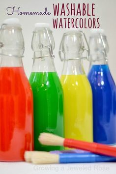 Make your own WASHABLE liquid watercolor paints.  These are so vibrant and cost mere pennies to make.  There are TONS of ways to use watercolors, too!