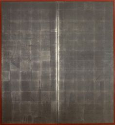 A two-fold paper screen with oxidised silver leaf. Unknown (20th century Taisho/Showa period)