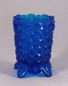 Fenton Daisy & Button beautiful blue toothpick holder