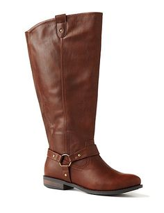 Autumn-Ready Riding Boot: Our wide width and wide calf riding boot is an on-trend finish to your new fall outfit. A stylish harness strap accents the ankle, while pull-up straps complete the opening. Elastic fabric on the back offers a custom stretch fit at the calf. Side zip opening. Thick sturdy heel. Wide width sizes with stretchable calves. catherines.com #catherines #plussizefashion #fallstyle #boots #widewidthboots #fall