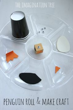 Penguin roll and create paper cup craft