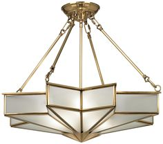 """Glass Star 24 3/4"""" Wide Antique Brass Pendant Light"""