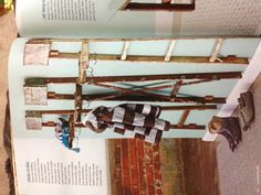Old ladders for mud room organizing