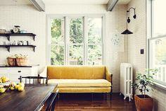 gold velvet sofa in kitchen redo