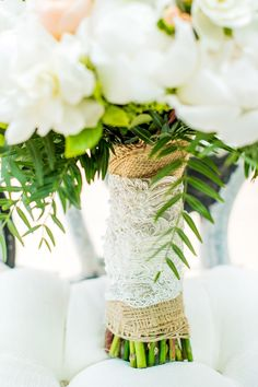 Burlap & lace bouquet wrap