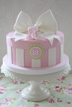 Hatbox 18th with gorgeous blow and mini shoes in white and pink