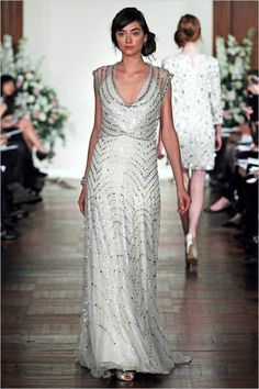 Jenny Packman's beautiful 2013 collection was inspired by the Art Deco Era, with intricate beading, chiffon and layers of silk.