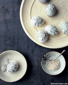 Spiderweb Eggs from Martha Stewart. You just need some frozen blueberries for the webs.