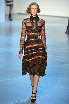 Rodarte, Fall 2012 #nyfw #striped #lace #dress #black #orange