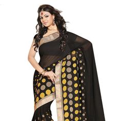#Black Faux #ChiffonSaree with Blouse