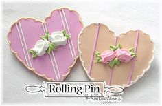 Mini Rose Wedding Heart Cookies for Weddings, Wedding Monogram Cookies, Wedding Cookies by Rolling Pin Productions