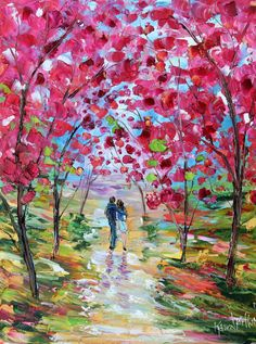 Spring Romance Blooms painting oil on canvas by Karensfineart
