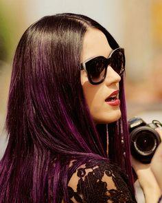 Katy Perry eggplants, purpl highlight, eggplant highlight, eminem, eggplant hair, coloured hair, hair trends, hair looks, handmade journals