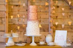 Jennifer Prinz of City View Bakehouse designed this coppery cake to be reminiscent of falling confetti! Every last one of the iridescently edible paillettes was made by hand.