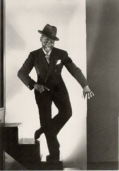 """Mr Bojangles, 1935    Bill (""""Bojangles"""") Robinson,,started  dancing professionally at age 7. He invented the stair tap routine,and was one of the world's greatest tap dancers. He was in 15 films,but his movie fame came primarily from Shirley Temple movies."""