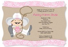 Cowgirl Baby Shower Invite.  Visit us at http://www.modern-baby-shower-ideas.com/western-baby-shower.html Use coupon code: Modern11 and save 11%