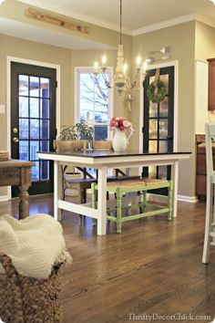 We love using a bench at the kitchen table! Do you have one too? Do you love it, too? #Homegoods