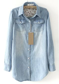 Blue Pockets Pearl Single Breasted Denim Blouse