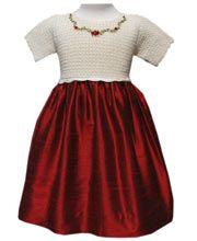 Christmas Party Dress, Cream and Maroon    http://www.carouselwear.com/Girls-silk-and-crochet-elegant-dress.html