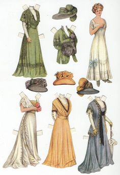 Lettie Lane Paper Dolls  Paper dolls featured in the Ladies' Home Journal, this set is presenting Lettie's Mother and Several of Her Costumes, from 1909.