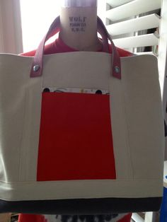 A Wonderful Heavy Duty Canvas Tote with Leather Handles by Lorster, $155.00