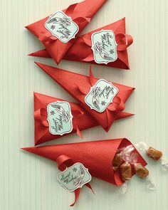 Paper cones for homemade candies.