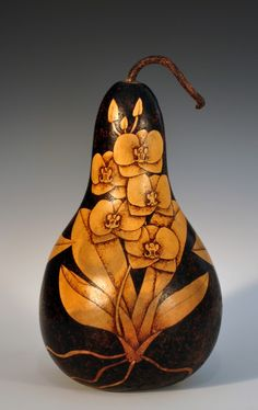 Orchid Gourd Pyrography Wood Burned Gourd by NessysNest on Etsy, $225.00