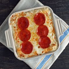 Pepperoni Pizza Cauliflower Casserole (Low Carb and Gluten Free) -- I need to try this!