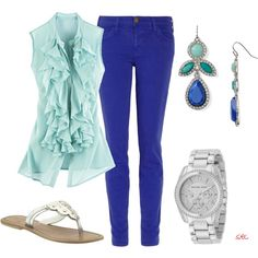Blue pants 2, created by coombsie24 on Polyvore