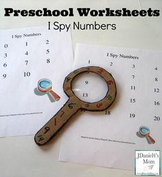 Preschool Worksheets- I Spy Number Hunt