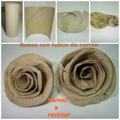 Rosas con tubos de papel higiénico
